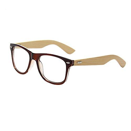 Shiratori Radiation Classic Bamboo Wayfarer Clear Glasses Brown