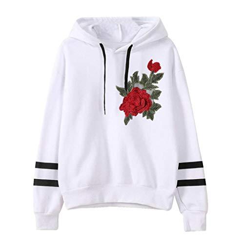 Sweatshirt,Toimoth Womens Embroidery Applique Long Sleeve Hoodie Sweatshirt Jumper Hooded Pullover(WhiteG,XL)