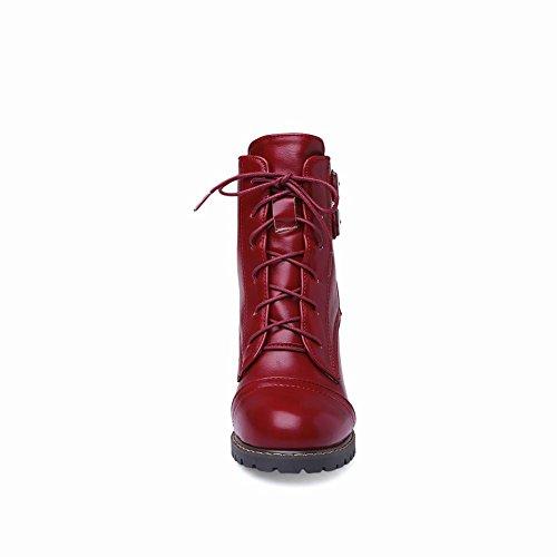 Mee Shoes Damen mit Schnürsenkel high heels kurzschaft Stiefel Rot