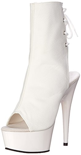 Pleaser Delight 1018 - Botas Mujer White (Wht Faux Leather/Wht)