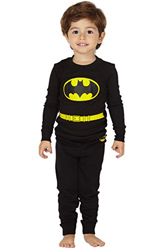 DC Comics Toddler 'Batman Superhero Logo' Cotton Costume Pajama Set, black,  3T]()