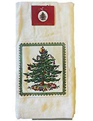 Avanti Spode Christmas Tree Applique Kitchen Towel - Ecru - Set of 2