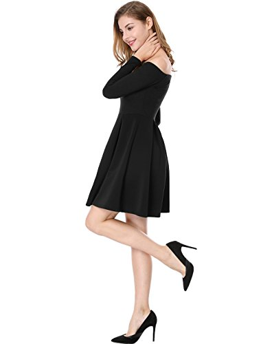 Women's Dress Black Panel Skater Allegra Off Shoulder Line K Cocktail A Pleated Z5qv5x