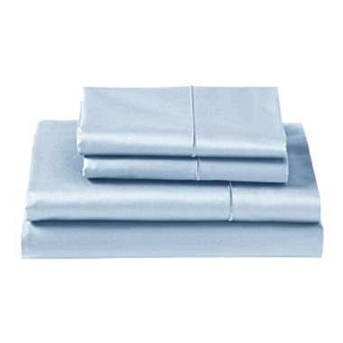 CUDDLEDOWN 400 Thread Count Fitted Sheets, Queen, Azure