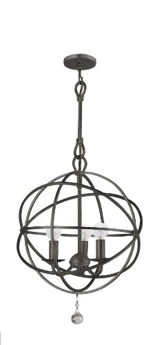 Crystorama 9225-EB Traditional Three Light Mini Chandeliers from Solaris collection in Bronze/Darkfinish, ()