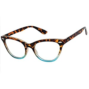 AStyles Vintage Inspired Half Tinted Frame Clear Lens Wayfarer Cat Eye Glasses (Tortoise-Turquoise, Clear)