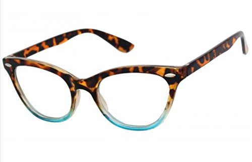 AStyles Vintage Inspired Half Tinted Frame Clear Lens Wayfarer Cat Eye Glasses (Tortoise-Turquoise, - Cat Frame Large Eye Glasses