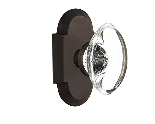 Nostalgic Warehouse Cottage Plate with Oval Clear Crystal Glass Door Knob, Single Dummy, Oil-Rubbed Bronze (Renewed)