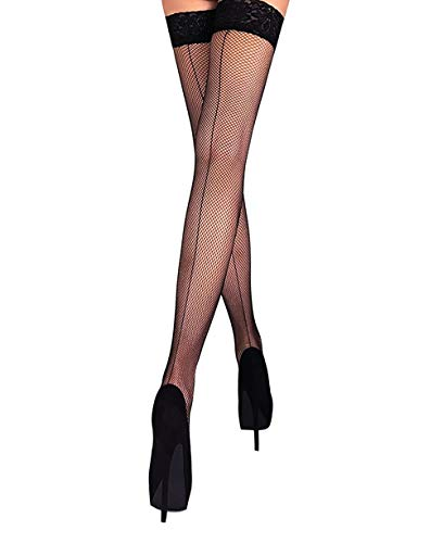(Fishnet Thigh High Stay up Stockings Lace Top Silicone Top Nylon Hosiery (Black - Seamed, M))