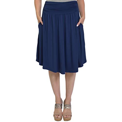Stretch is Comfort Women's Plus Size Pocket Skirt Navy Blue ()