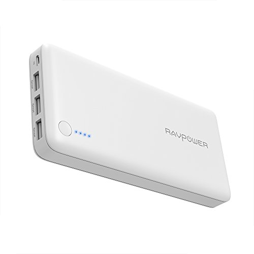 Portable Charger RAVPower 26800 Battery Packs 26800mAh Total 5.5A Output 3-Port Power Bank (2A Input, iSmart 2.0 USB Power Pack) Portable Battery Charger for Smart Devices (White)
