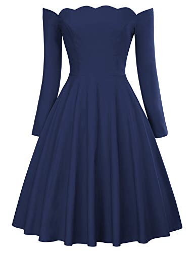 Belle Isle Dress - PAUL JONES Women's Retro Off Shoulder Dress Knee-Length Dress for Party Size S Navy