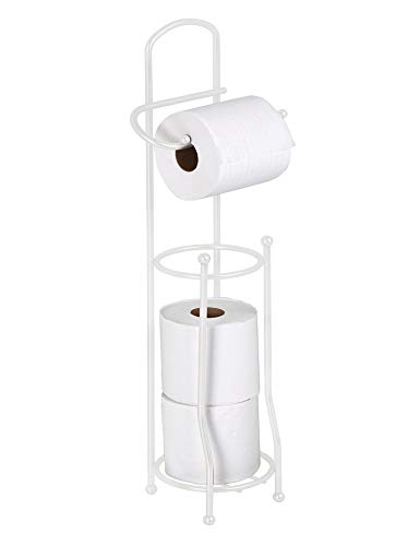 - Bath Bliss Free Standing Toilet Paper Holder and Dispenser, Holds 4 Rolls, Rust & Water Resistant, White