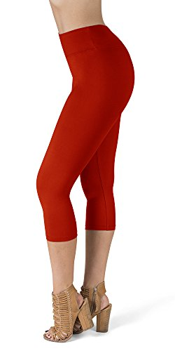 - SATINA High Waisted Super Soft Capri Leggings - 20 Colors - Reg & Plus Size (One Size, Red)