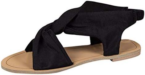 2b1527eacb551 Women Strappy Sandals Leather Cross Strap Flat Sandals Peep Toe Slip ...