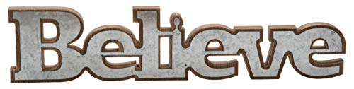 Transpac Imports D2033 Wood & Metal Believe Sign Decor, Galvanized
