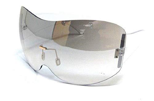 (Alps Rimless Oversized Mono One Piece Shield Sunglasses (Clear, Grey Gradient))