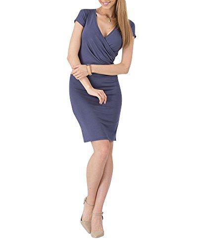 Moollyfox Mujer Vestido Estilo Jersey Corto Manga V-cuello Plisado Lápiz Vestido de Corte Azul Oscuro