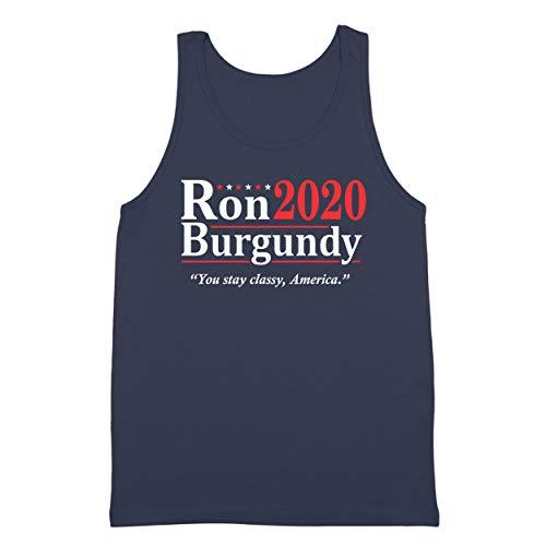 Donkey Tees Ron Burgundy Election 2020 The Legend Anchorman Mens Tank Top Medium Navy