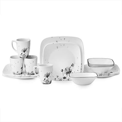 Corelle Square Fleurs Du Soir 16-piece Dinnerware Set