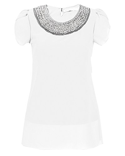 Mujer Básica Camiseta De Manga Corta Blusa Ocasional Cuello Redondo Verano T-Shirt Blouses Blanco
