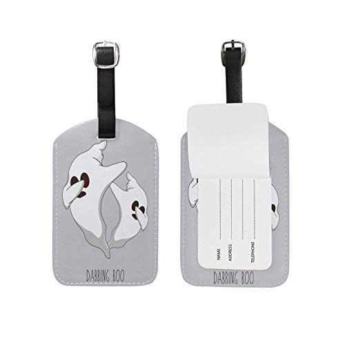 ABLnewitemFrameFF Happy Halloween Dabbing Boo Luggage Tag Set of 2 Cruise Ship Women Men Kid Suitcase Label Travel ID Handbag Tag with Buckle Leather]()