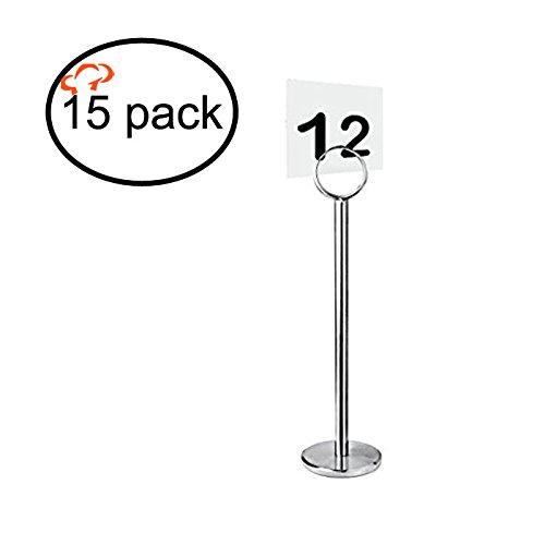TigerChef TC-20286 Silver Table Number/Card/Menu Holder Stands, Sturdy Quality, 12
