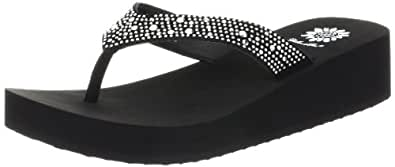Yellow Box Women's Africa Wedge Flip Flop, Black, 5.5 M US