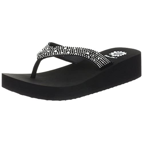 Yellow Box Women's Africa Wedge Flip Flop, Black, 8.5 M US