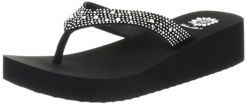Yellow Box Women's Africa Wedge Flip Flop, Black, 8 M ()
