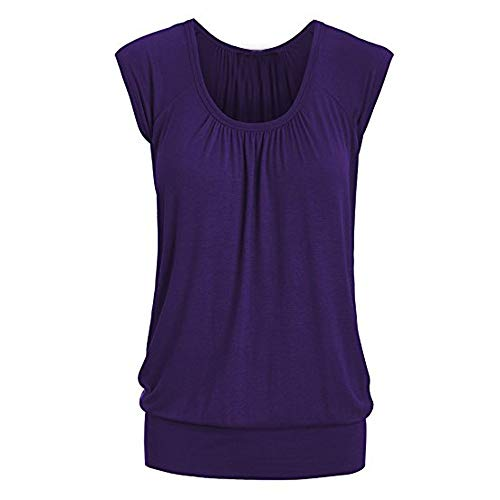 Aniywn Women Round Neck Ruffled Short Sleeve Blouse Solid Color Ruched Irregular T-Shirt Tops Purple American Craft Round Buttons