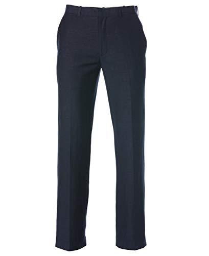 Cubavera Men's Easy Care Linen-Blend Flat-Front Dress Pant, Blues, 34W x 34L (Best Guayaberas In Miami)