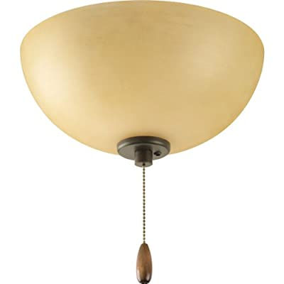 Progress Lighting P2650-20T Bravo Collection 3-Light Ceiling Fan Light, Antique Bronze