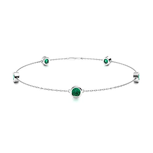 Diamondere Natural and Certified Emerald Chain Bracelet in 14K White Gold | 0.31 Carat Bracelet for Women, Length - 7.25 inch