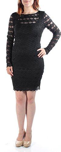 JUMP $79 Womens New 1006 Black Jewel Neck Long Sleeve Textured Shift Dress S B+B