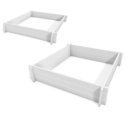 New England Hudson Raised Garden Beds, 4'L x 4'W, Set of 2