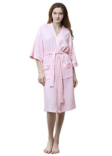 (Womens Lightweight Robe Cotton Kimono Waffle Spa Bathrobe Belted with Pockets for Ladies Sleepwear (Pink, Small/Medium))
