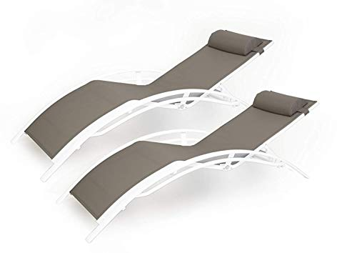 (Kozyard KozyLounge Elegant Patio Reclining Adjustable Chaise Lounge Aluminum and Textilene Sunbathing Chair for All Weather with headrest (2 Pack), KD,Very Light, (Taupe))