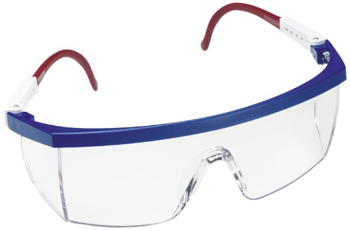 3M Nassau Plus Protective Eyewear, 14327-00000-20 Clear Lens, Red/White/Blue Frame  (Pack of 1) -