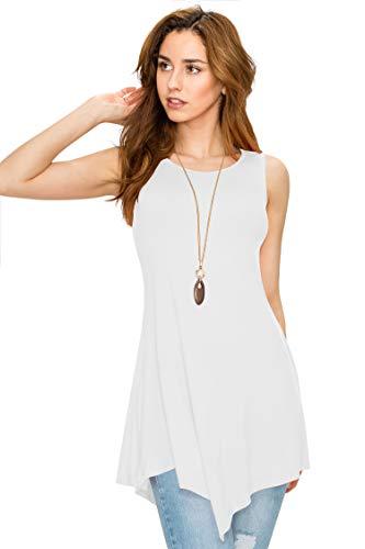 - WT671 Womens Handkerchief Hem Tank Tunic Top S WHITE