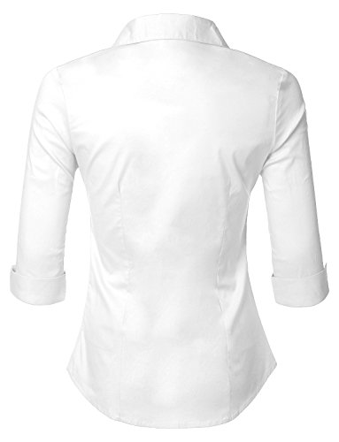 286e27d6108 LE3NO Womens Roll Up 3 4 Sleeve Button Down Shirt with - Import It All