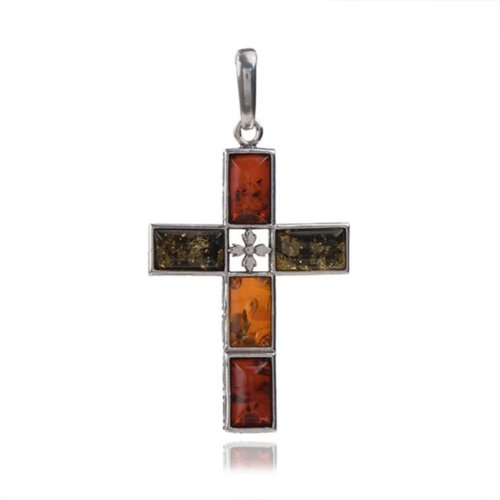 Sterling Silver Multicolor Amber Rectangular Cross Reverse Colors