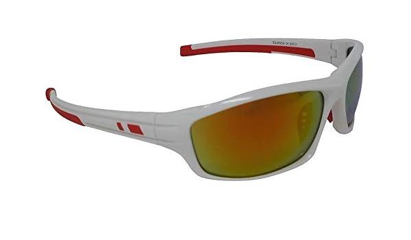 Equinox Gafas de sol deportivas blancas Espejo Rojo Cat-3 ...