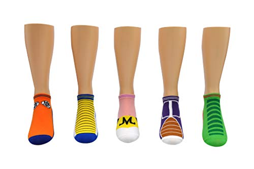 Dragon Ball Z Super Socks Gifts (5 Pair) - (1 Size) Goku, Vegeta, BUU, Frieza, Shenron Cosplay Socks Women & Men's