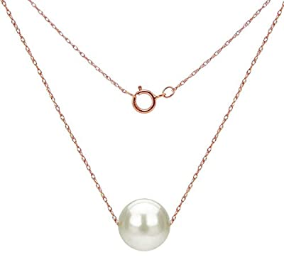 14k Gold Necklace with White Freshwater Cultured Floating Pearl Jewelry for Women