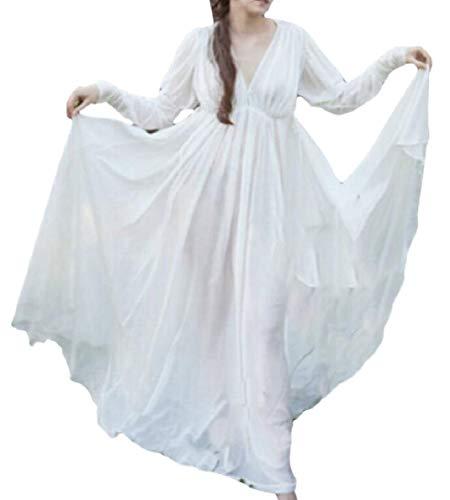 FLCH+YIGE Women Costume Chemise Mythic Renaissance Medieval Dress White L