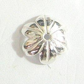 - 4 pcs .925 Sterling Silver Flower Caps Bead 10mm/Flower/Bright