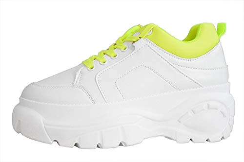 (LUCKY STEP Women Chunky Platform Dad Colorblock White Neon Green Fuchsia Hologram Silver Casual Lace-Up Walking Sneakers(7 B(M) US, White/Neon Green))