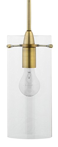Effimero Large Stem Hung Clear Glass Contemporary Pendant Light. Brushed Brass Fixture with Adjustable Hanging Height. Industrial Edison Modern Style. UL Listed, Linea di Liara LL-P315-GLD