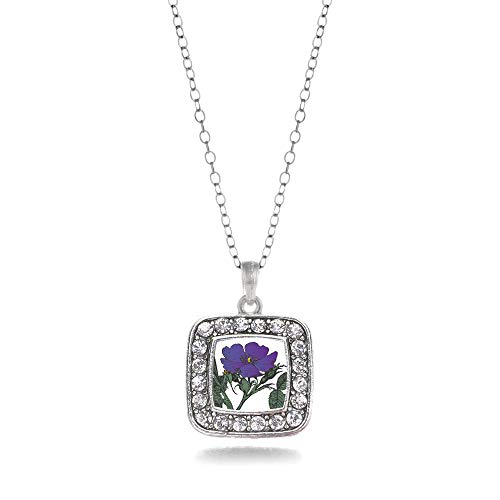 Inspired Silver - Violet Flower Charm Necklace for Women - Silver Square Charm 18 Inch Necklace with Cubic Zirconia -